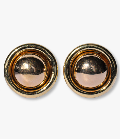 A pair of rosé and yellow gold '50s earrings | Statement Jewels