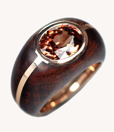 Rosé gold, snake wood and zircon T.A.C. ring | Statement Jewels