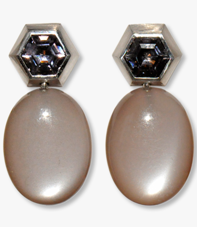 White gold, grey moonstone & spinel T.A.C. earrings | Statement Jewels