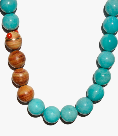 Yellow gold, bahia rose wood, amazonite & coral T.A.C. necklace | Statement Jewels